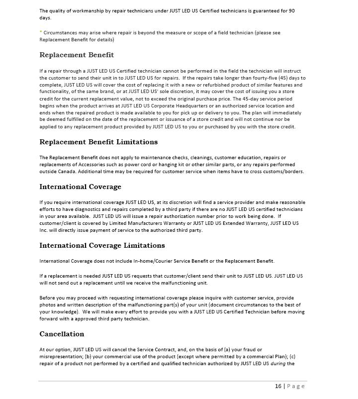 Owner's Manual 16