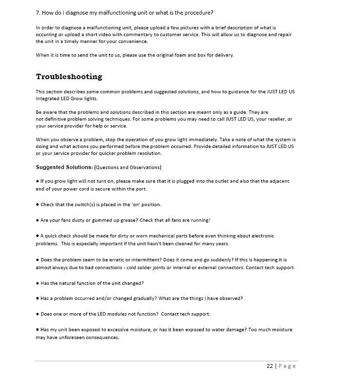 Owner's Manual 22