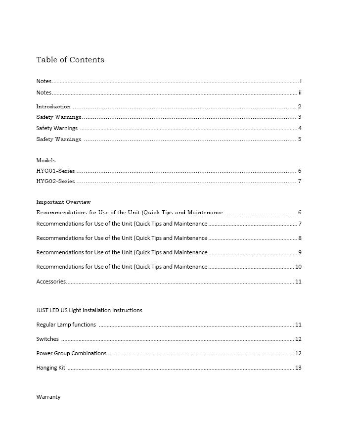 Owner's Manual Table of Contents (a)