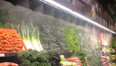 Why the grocery store sprays water onto the fresh produce